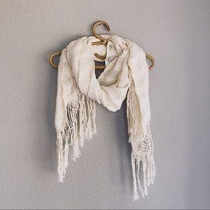 Ivory Oversized Cotton Macrame Scarf